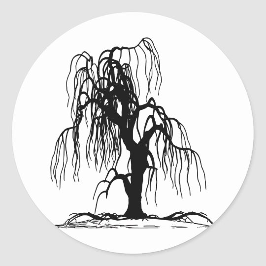 Weeping Willow Tree Classic Round Sticker