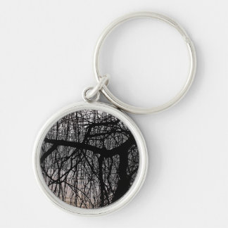 WEEPING WILLOW TREE Silver-Colored ROUND KEYCHAIN
