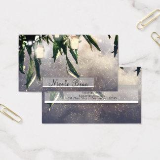 Weeping Willow Tree & Mason Jar Lights Elegant Business Card