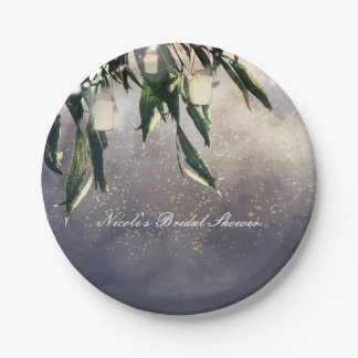 Weeping Willow Tree & Mason Jar Lights Elegant Paper Plate