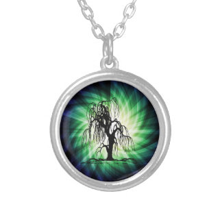 Weeping Willow Tree Round Pendant Necklace