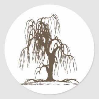 Weeping Willow Tree Round Stickers