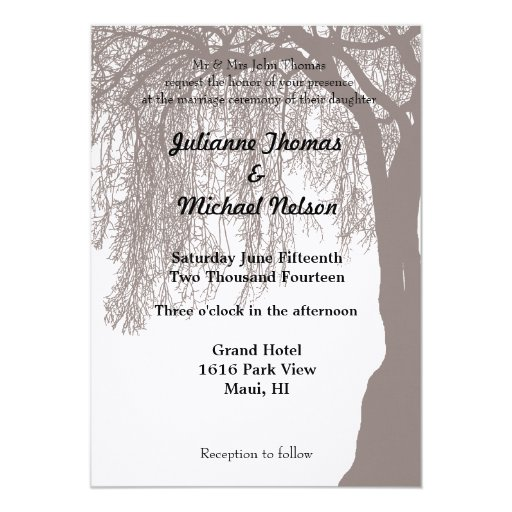 Weeping Willow Tree Wedding Card