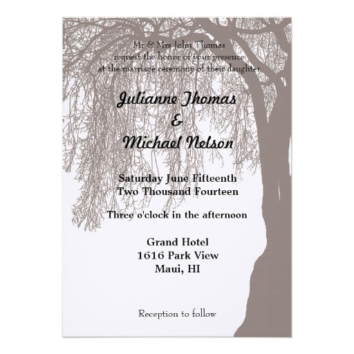 Weeping Willow Tree Wedding Invite