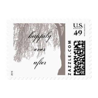 Weeping Willow Tree Wedding Postage Stamp