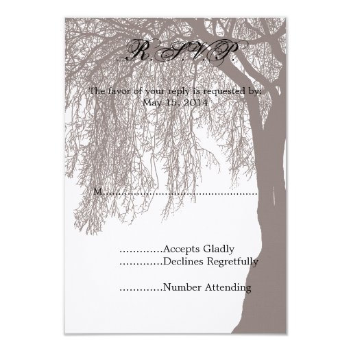 Weeping Willow Tree Wedding RSVP 3.5x5 Paper Invitation