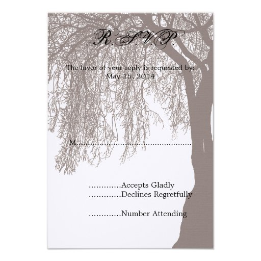 Weeping Willow Tree Wedding RSVP Custom Invitations