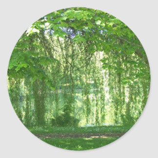 Weeping Willows with Pond Round Sticker