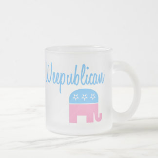 Weepublican (Blue) Frosted Glass Coffee Mug