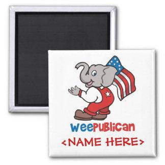 WeePublican y bandera Imán Cuadrado