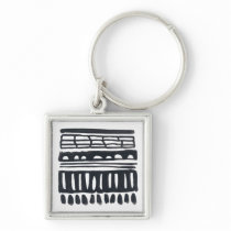 Weft I | Modern Black Watercolor Keychain