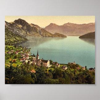 Weggis, Rigi, Switzerland classic Photochrom Poster
