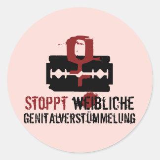 ¡Weibliche Genitalverstümmelung de Stoppt! Pegatina Redonda