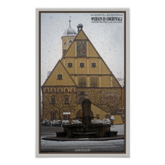 Weiden id Opf - Snowfall at the Rathaus Poster