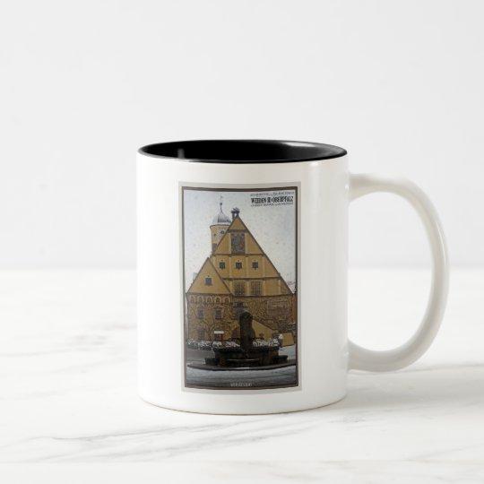 Weiden id Opf - Snowfall at the Rathaus Two-Tone Coffee Mug