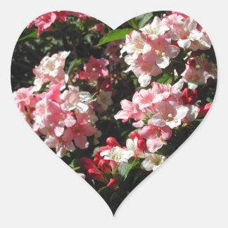 Weigela. Pretty Pink Flowers. Heart Sticker