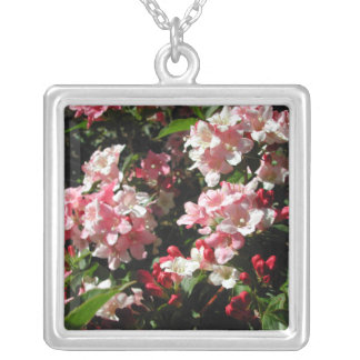 Weigela. Pretty Pink Flowers. Square Pendant Necklace