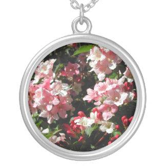 Weigela. Pretty Pink Flowers. Round Pendant Necklace