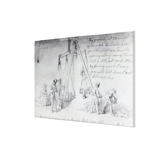 Weighing out stones on Francis Street, London Stretched Canvas Print