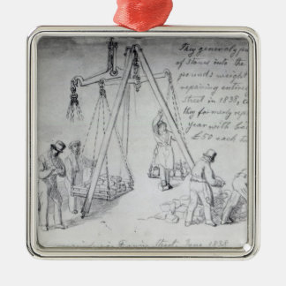 Weighing out stones on Francis Street, London Christmas Tree Ornament
