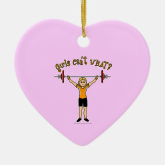 Weight Lifter (Blonde) Double-Sided Heart Ceramic Christmas Ornament