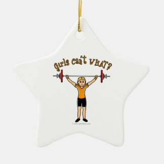 Weight Lifter (Blonde) Double-Sided Star Ceramic Christmas Ornament