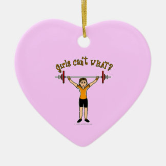 Weight Lifter (Light) Double-Sided Heart Ceramic Christmas Ornament