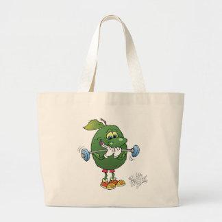 Weight lifting Avocado, on a jumbo tote bag.