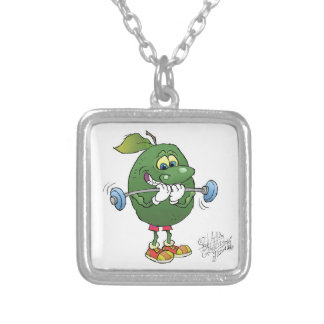 Weight lifting Avocado, on a necklace. Silver Plated Necklace