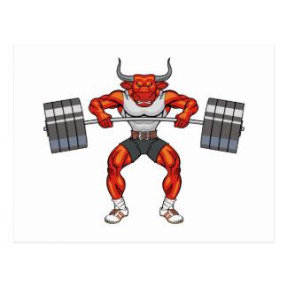 weight lifting bull 2 postcard
