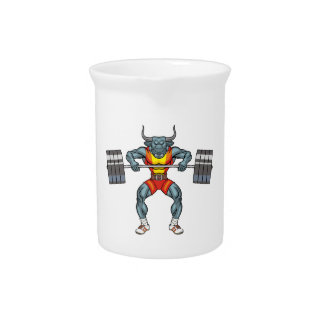 weight lifting bull 3 beverage pitcher