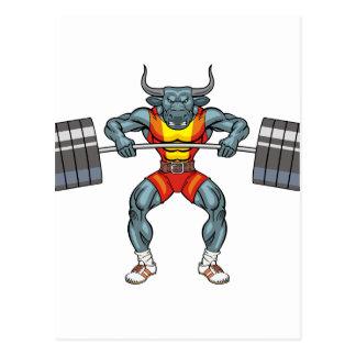 weight lifting bull 3 postcard