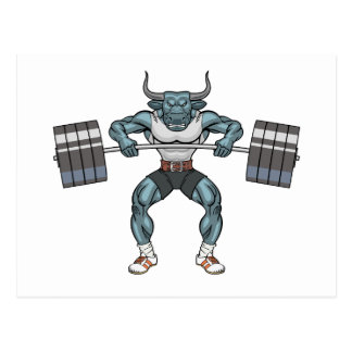 weight lifting bull postcard