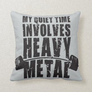 """Weight lifting"" Motivation - Heavy Metal Throw Pillow"