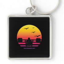 weight lifting retro sunset, #weight lifting keychain