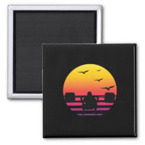 weight lifting retro sunset, #weight lifting magnet