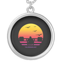 weight lifting retro sunset, #weight lifting silver plated necklace