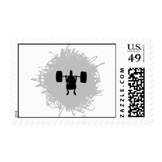 Weight Lifting Scribble Style Postage