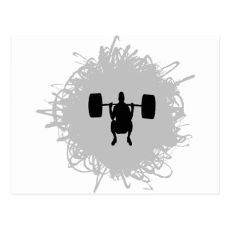 Weight Lifting Scribble Style Postcard