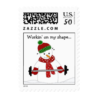 Weight Lifting Snowman Postage