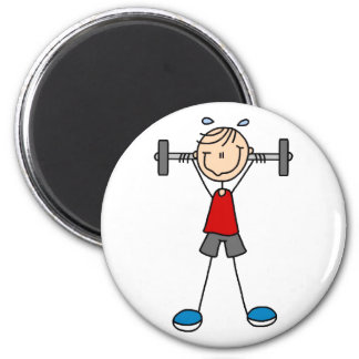 Weight Lifting Stick Figure Magnet Refrigerator Magnet