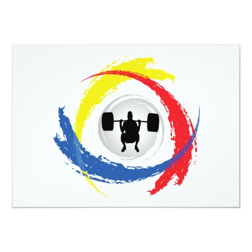 Weight Lifting Tricolor Emblem Custom Announcements