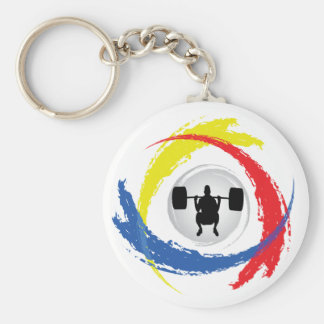 Weight Lifting Tricolor Emblem Keychain
