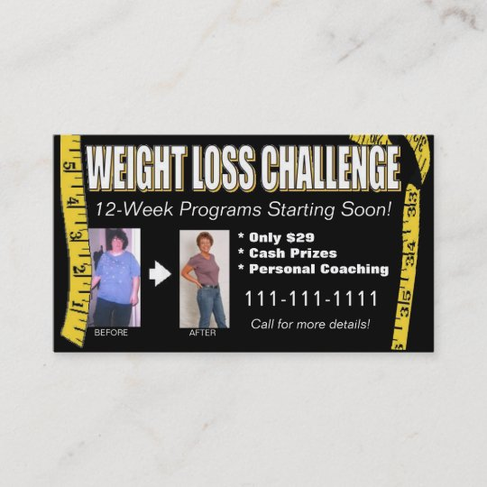 Weight loss challenge business card zazzle weight loss challenge business card colourmoves