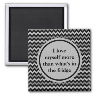 Weight loss positive affirmation in black and gray 2 inch square magnet
