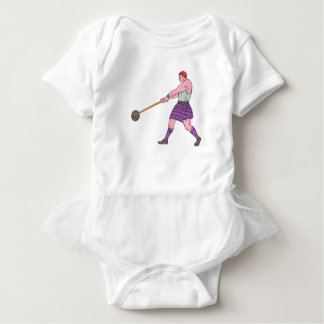 Weight Throw Highland Games Athlete Drawing Baby Bodysuit