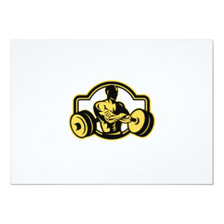 Weightlifter Arms Crossed Barbell Retro 13 Cm X 18 Cm Invitation Card
