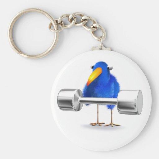 Weightlifter azul del pájaro 3d llavero redondo tipo pin