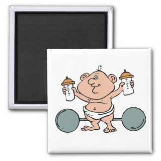 Weightlifter Baby 2 Inch Square Magnet