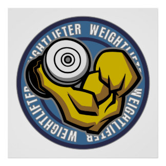 Weightlifter Barbell Curl Poster